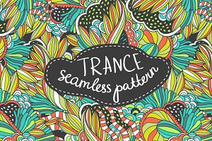 Handdrawn seamless trance pattern
