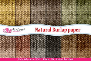 Natural Burlap Digital Paper