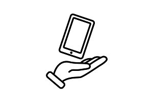 Web line icon. Smartphone in hand