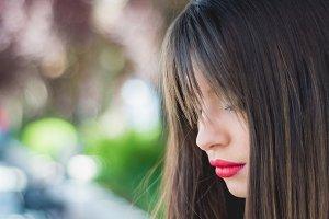 Close-up woman face profile
