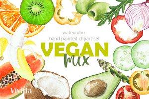 Watercolor clipart Vegan Mix summer