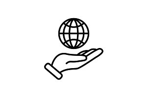 Web line icon. Globe in hand. black