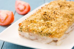 White fish casserole with cheese