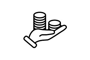 Web line icon. Money in hand black