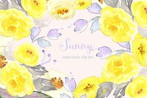 Sunny Watercolor Clip Art