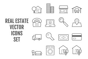 16 vector line real estate icons