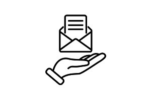 icon. E-mail (open lettter) in hand.