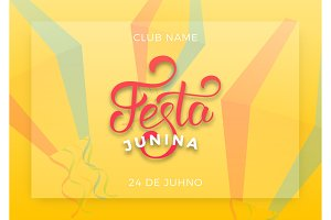 Festa Junina. Holiday layout design for Brazilian June festa de Sao Joao. Festive lettering and sky lanterns