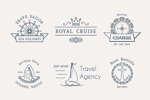6 Retro Nautical Logo Templates