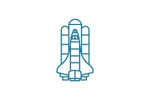 American shuttle linear icon concept. American shuttle line vector sign, symbol, illustration.