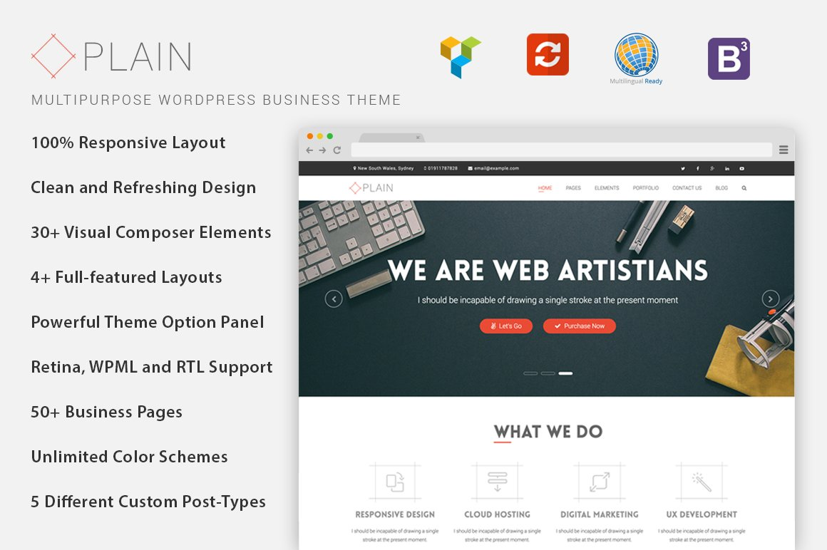 Plain multi purpose wp theme wordpress business themes for Wordpress theme with multiple page templates