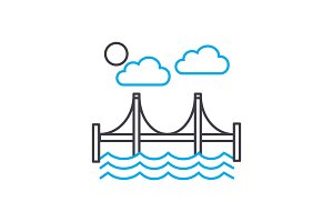Automotive bridge linear icon concept. Automotive bridge line vector sign, symbol, illustration.
