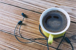 headphones and coffe