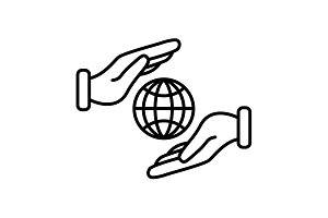 Web line icon. Globe in hands. black