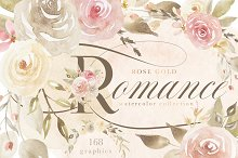 Rose Gold Romance Watercolor Flowers by Catherine Haugland in Illustrations