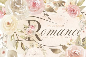 Rose Gold Romance Watercolor Flowers