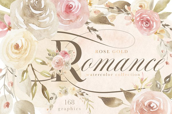 Illustrations and Illustration Products: Eclectic Anthology - Rose Gold Romance Watercolor Flowers