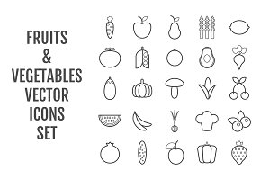 25 vector fruits & vegetables icons
