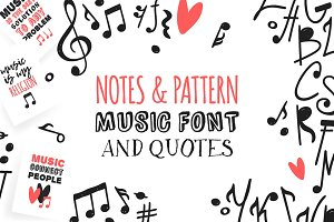 Notes, pattern, music font, quotes