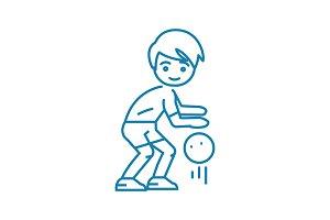 Basketball game linear icon concept. Basketball game line vector sign, symbol, illustration.