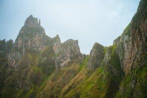 Sharp stand out mountain ridge overgrown with verdant grass. Xo-Xo Valley. Santo Antao Island, Cape Verde Cabo Verde