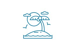 Beach holidays linear icon concept. Beach holidays line vector sign, symbol, illustration.