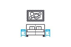 Bedroom linear icon concept. Bedroom line vector sign, symbol, illustration.