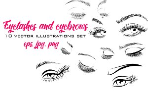 Eyelashes and Eyebrows Vector