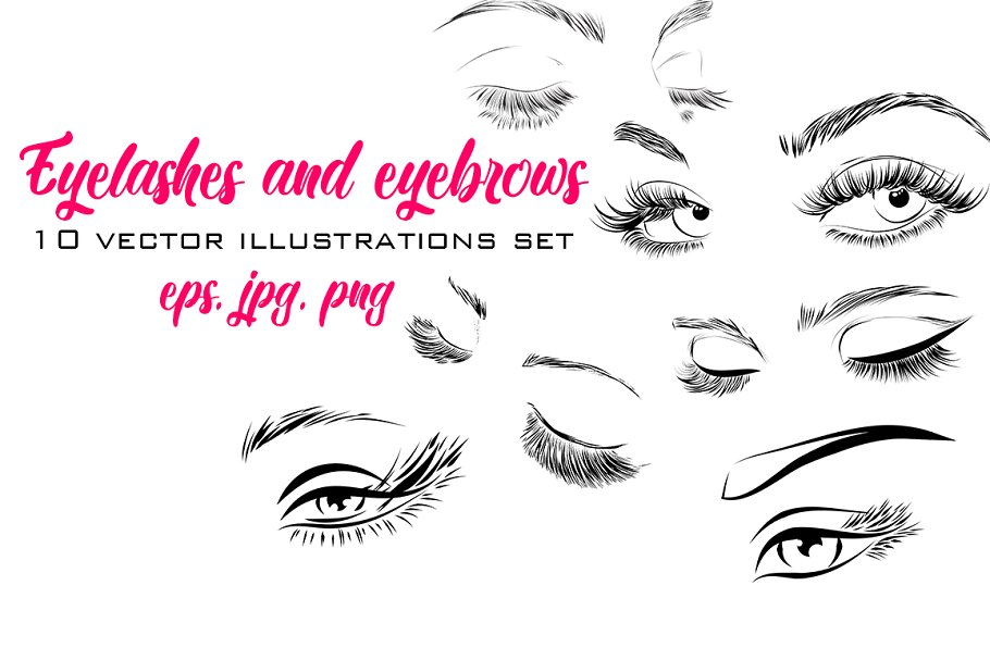 432fe5bc4d8 Eyelashes and Eyebrows Vector ~ Illustrations ~ Creative Market