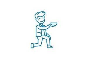 Beggar linear icon concept. Beggar line vector sign, symbol, illustration.