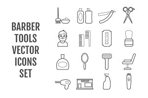 16 vector line barber tools icons