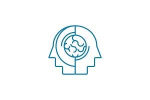Brainstorming linear icon concept. Brainstorming line vector sign, symbol, illustration.