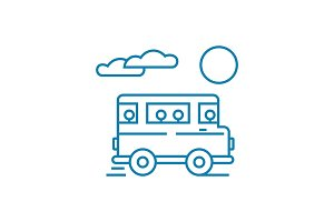 Bus trip linear icon concept. Bus trip line vector sign, symbol, illustration.