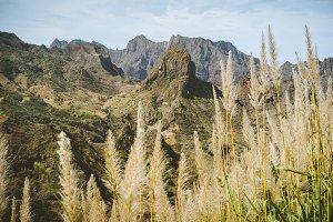 Huge barren mountain peak in dry arid desert landscape. Ribeira Grande. Santo Antao Island, Cape Verde