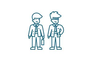 Business partners linear icon concept. Business partners line vector sign, symbol, illustration.