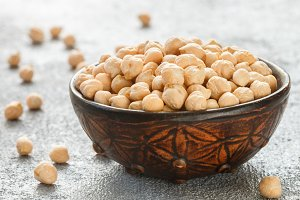 Raw Chickpeas in a brown clay bowl