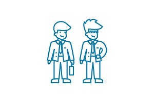 Business people linear icon concept. Business people line vector sign, symbol, illustration.