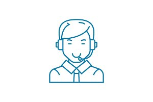 Call center linear icon concept. Call center line vector sign, symbol, illustration.