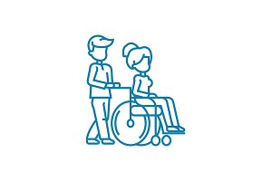 Care for disabled people linear icon concept. Care for disabled people line vector sign, symbol, illustration.