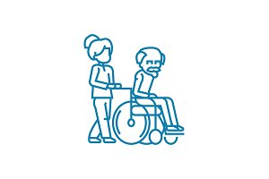 Care for the elderly linear icon concept. Care for the elderly line vector sign, symbol, illustration.