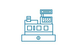 Cash desk linear icon concept. Cash desk line vector sign, symbol, illustration.