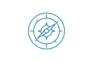 Compass linear icon concept. Compass line vector sign, symbol, illustration.