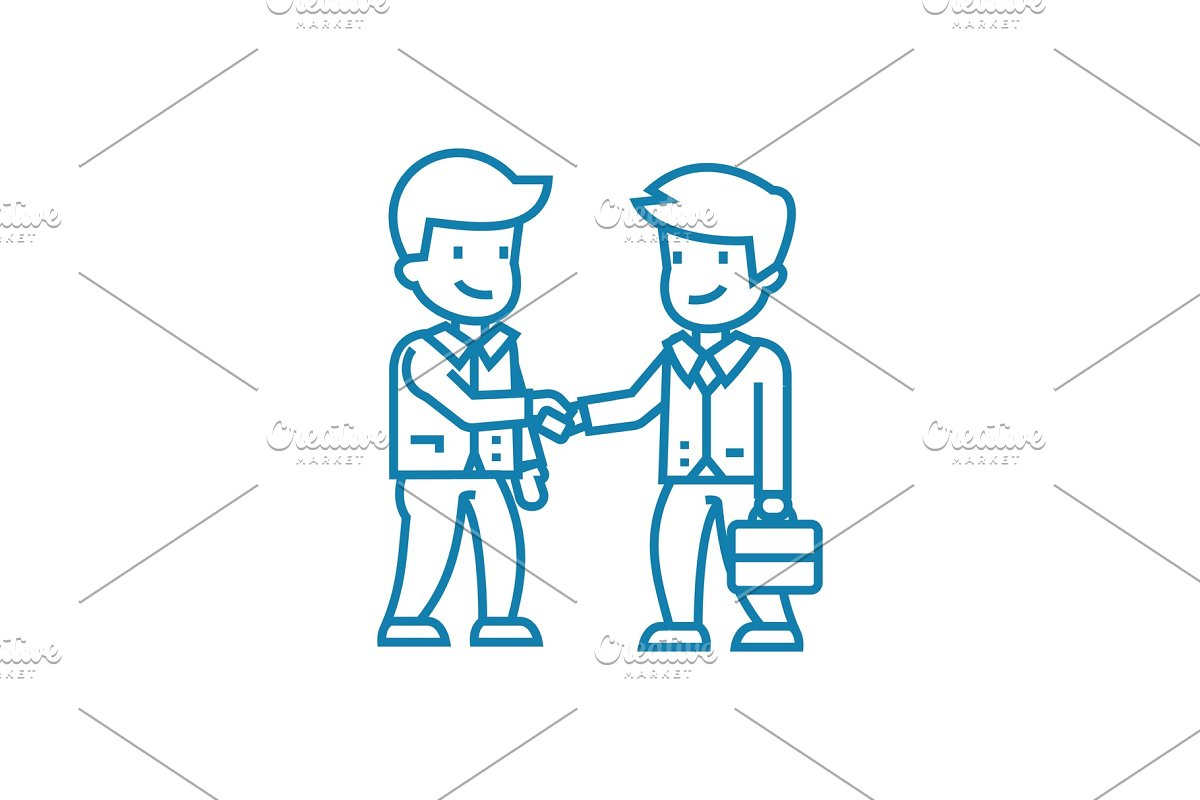 Conclusion of an agreement linear icon concept  Conclusion of an agreement  line vector sign, symbol, illustration