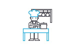 Cooking linear icon concept. Cooking line vector sign, symbol, illustration.