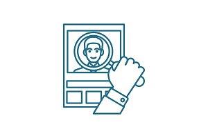 CV analysis linear icon concept. CV analysis line vector sign, symbol, illustration.