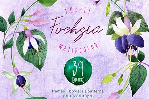 Purple fuchsia PNG watercolor set