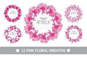 12 Pink Floral Wreaths