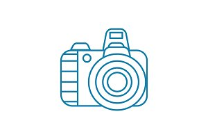 Digital camera linear icon concept. Digital camera line vector sign, symbol, illustration.