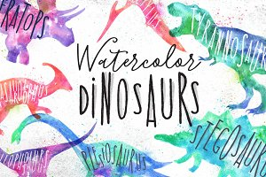 Watercolor Dinosaurs