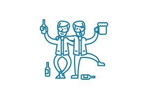 Drinking with friends linear icon concept. Drinking with friends line vector sign, symbol, illustration.